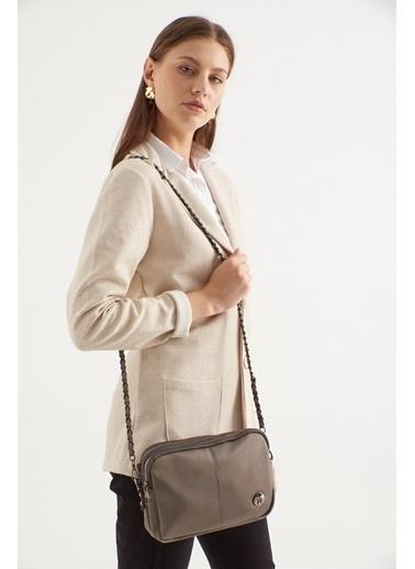 TH Bags TH Bags Fermuarlı Askılı Kadın Omuz Çantası Gri